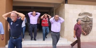 Encabeza Alcalde Santos González simulacro contra sismo