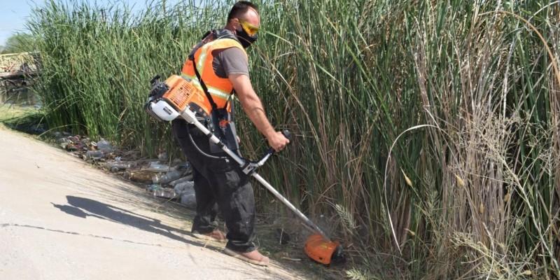 Hacen limpia en canal y puente de la Monterrey